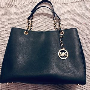 Michael Kors Black Tote with Gold Accents